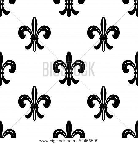 Stylized French fleur de lys seamless pattern