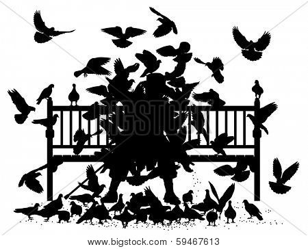 Silhouettes of a man on a bench smothered by pigeons poster