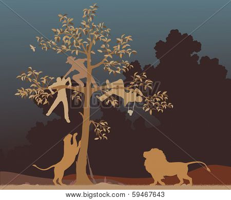 Illustration of three men chased into a tree by a pair of lions poster