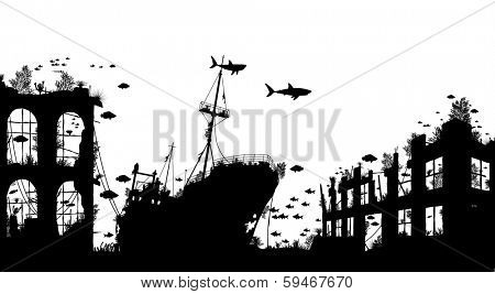 Foreground silhouette of marine life around a shipwreck and underwater city ruins poster