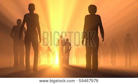 group of people go to the light