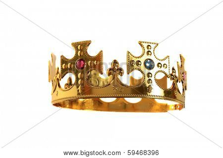 A Genuine Plastic Crown with Real Plastic Jewels made of Real Gold Plastic with an adjustable head band so it can fit on most head sizes. Isolated on white for all your Royal Crown Needs.
