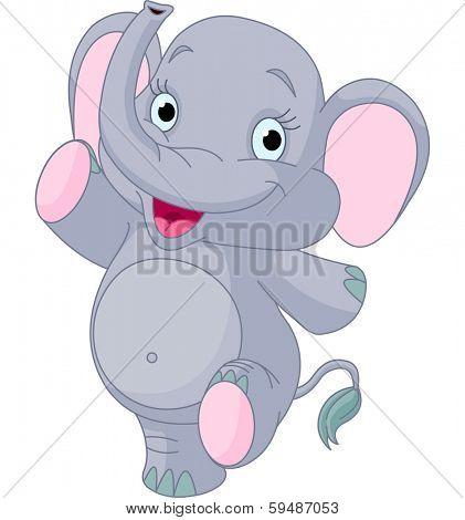 Happy baby elephant dancing