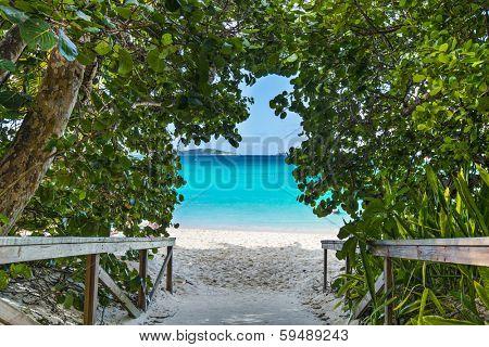 St. John, US Virgin Islands at Trunk Bay Beach entrance.