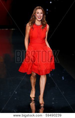 NEW YORK-FEB 6: Thea Andrews wears Rachel Roy on the runway at The Heart Truth Red Dress Collection show during Mercedes-Benz Fashion Week at Lincoln Center on February 6, 2014 in New York City.