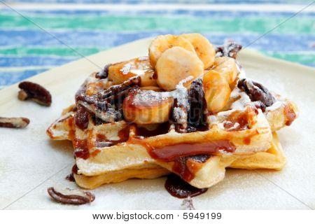 Banana Pecan Caramel Waffles