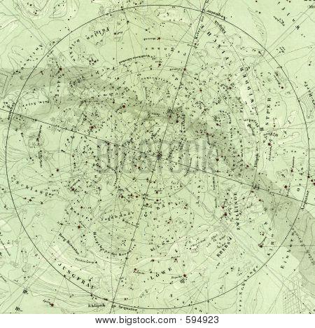 1875 Antique Map North Sky Det