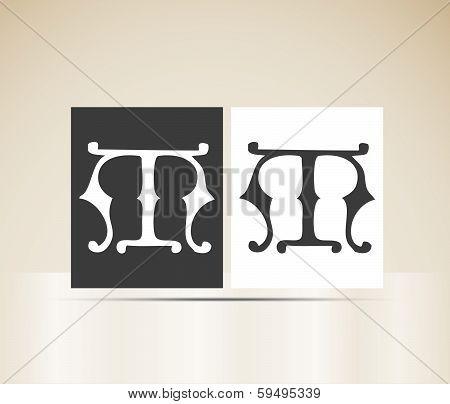 Vector letter M sign alphabet
