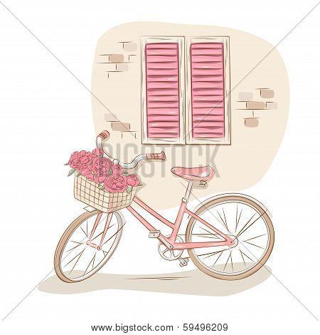 Retro windows and bicycle