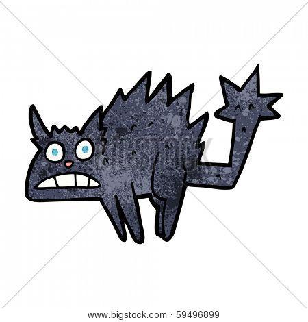 cartoon frightened black cat poster