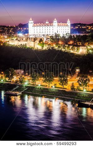 Night Skyline Of Bratislava With Castle And Danube River