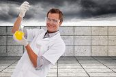 Young scientist working with a beaker against balcony and stormy sky poster