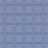 Blue and White Hexagon Tiles Pattern Repeat Background that is seamless and repeats poster