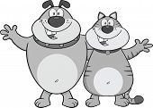 Dog And Cat Cartoon Characters Hugging In Gray Color poster