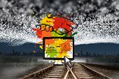 Business video chat on paint splashes against train tracks leading to city under blanket of stars poster