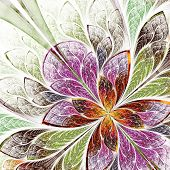 Beautiful fractal flower in beige green and violet. Computer generated graphics. poster