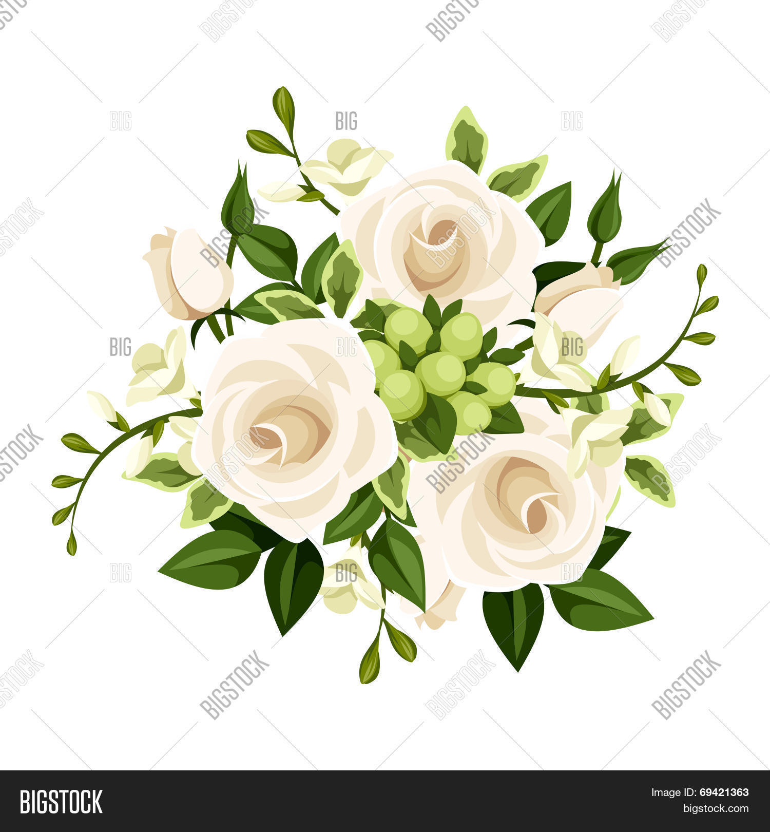 Bouquet white roses vector photo free trial bigstock bouquet of white roses and freesia flowers vector illustration izmirmasajfo