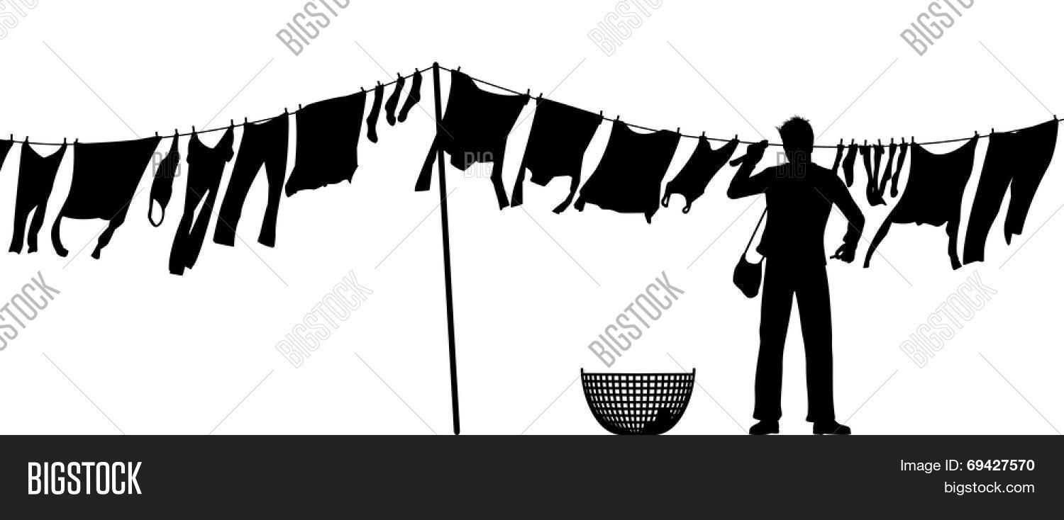Illustrated Silhouette Of A Man Hanging Clothes On Washing Line