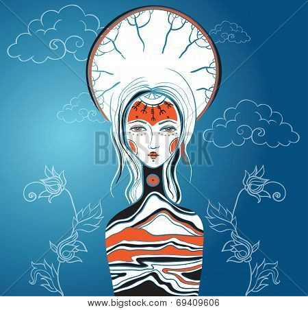 Vector Illustration Of The Goddess. Female Archetype. Mother Nature.