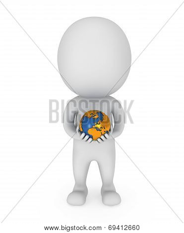 3D White Man Stands With Earth Planet Globe