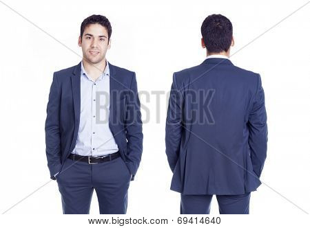 Front and back views of a handsome business man, isolated on white background