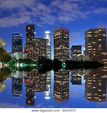 Los Angeles skyline and reflection