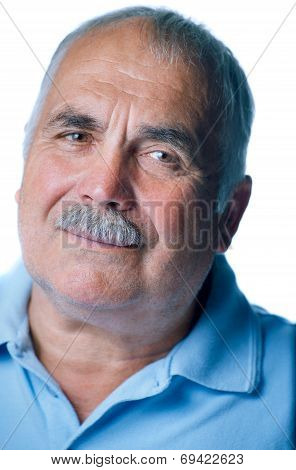 Lonely Old Man With Gray Hair And Mustache