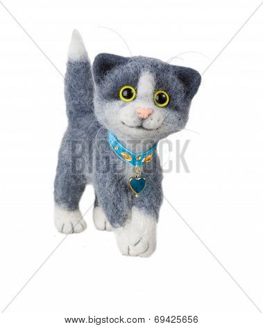 Handmade Felted Toy Cat