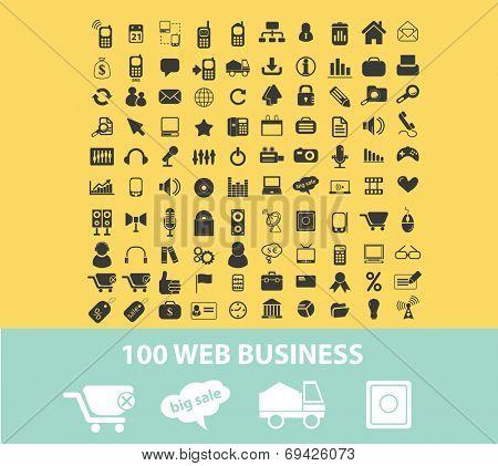 100 web business, internet techology, startup black flat icons, signs, symbols set, vector