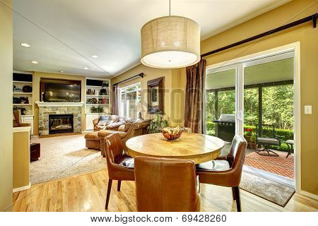 Living Room Interior With Dining Table