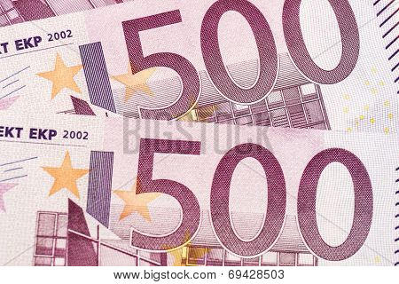 Background of 500 euro banknotes poster