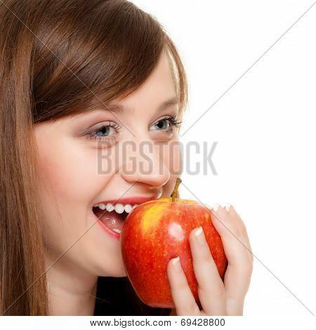 Diet. Girl Eating Biting Apple Seasonal Fruit.