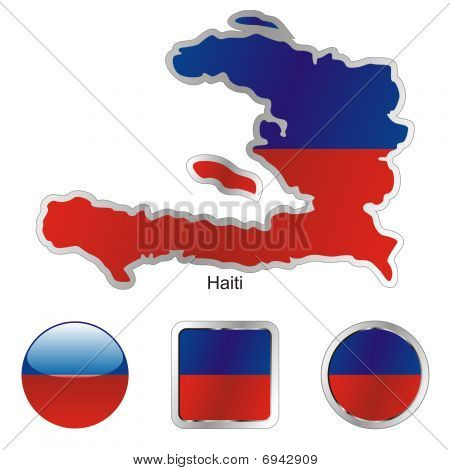 flag of haiti in map and web buttons shapes