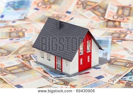 Model House On Euro Banknotes