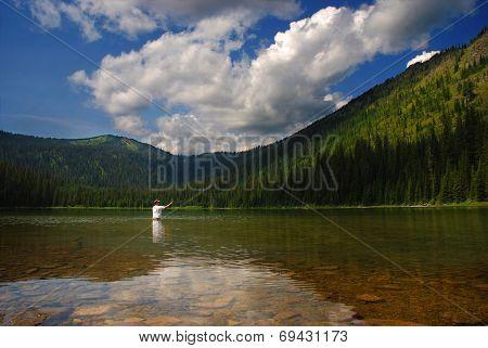 Mountain Lake Fisherman