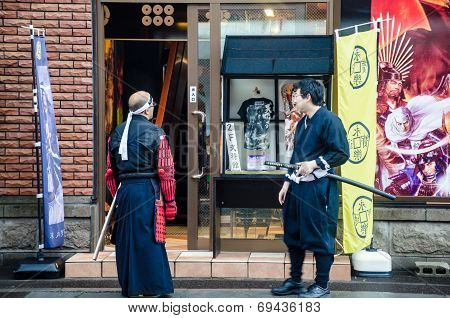 Two People in Japanese Warrior Costume