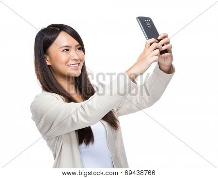 Young woman take selfie mobile phone