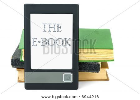 Modern Ebook Reader And Old Paper Books