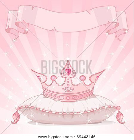 Shiny background with Princess crown on pink pillow