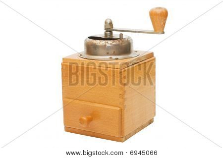 Old Coffee Grinder Isolated On White Background