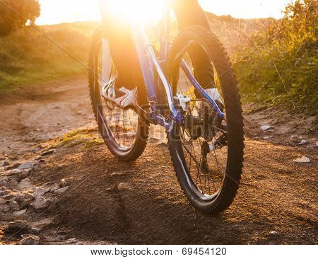Low Angle View Of Cyclist Riding Mountain Bike Trail At Sunrise