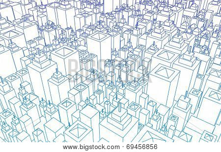 Futuristic City with Metallic Buildings and Skyline