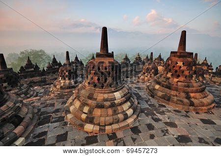 Sunrise At Borobudur Temple Stupa Jogjakarta, Indonesia.