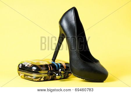 Woman Black Shows On Yellow