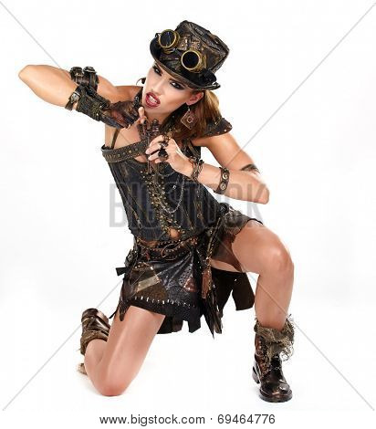 Steampunk isolated woman. Fantasy fashion for cover.  poster