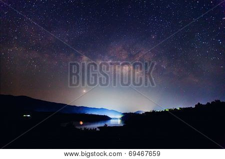 the Panorama Milky Way rises over the dam in Thailand.Long exposure photograph poster