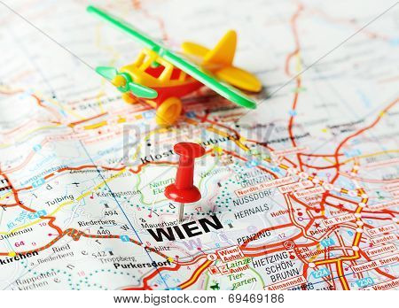 Wien ,austria Map Airplane