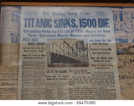 Titanic Sinks Headline