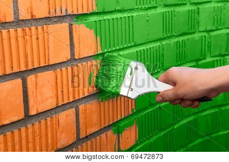 Human Hand Painting Wall With Green Color