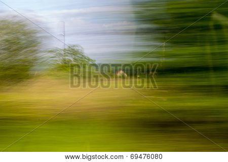 Motion Blur Driving The Village